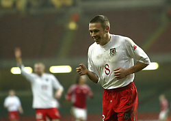 CARDIFF, WALES - WEDNESDAY FEBRUARY 9th 2005: Wales' Craig Bellamy celebrates his second goal against Hungary' during the International Friendly match at the Millennium Stadium. (Pic by Jason Cairnduff/Propaganda)