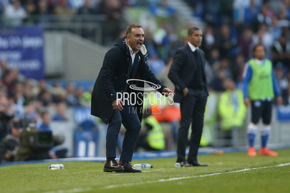 Sheffield Wednesday head coach Carlos Carvalhal and Brighton Manager, Chris Hughton during the Sky Bet Championship play-off second leg match between Brighton and Hove Albion and Sheffield Wednesday at the American Express Community Stadium, Brighton and Hove, England on 16 May 2016.