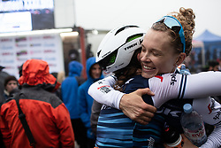 Tayler Wiles (USA) of Trek-Segafredo celebrates her win with teammate Lauretta Hanson (AUS) after Stage 3 of 2019 Emakumeen Bira, a 98 km road race from Murgia to Santa Teodosia, Spain on May 24, 2019. Photo by Balint Hamvas/velofocus.com
