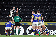 Hull FC winger Bureta Faraimo (2) scores a try and Hull FC hooker Danny Houghton (9) and celebrates  during the Betfred Super League match between Hull FC and Leeds Rhinos at Kingston Communications Stadium, Hull, United Kingdom on 19 April 2018. Picture by Mick Atkins.