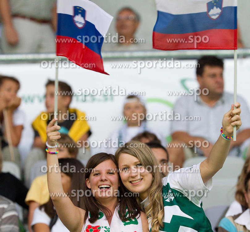 Fans of Slovenia before the opening ceremony and opening friendly football match at a new stadium in Stozice between National teams of Slovenia and Australia on August 11, 2010 in Ljubljana. Slovenia defeated Australia 2-0. (Photo by Vid Ponikvar / Sportida)