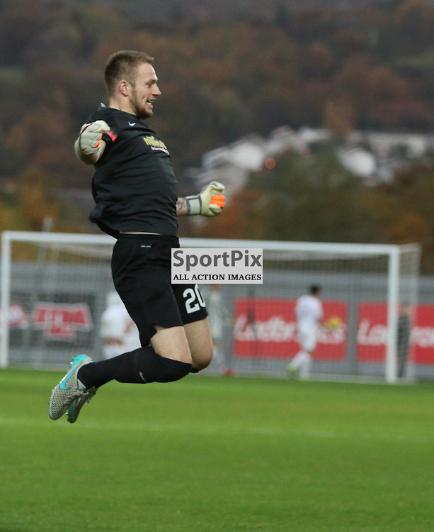 Morton Have just scored and the keeper is excited during the Dumbarton FC v Morton FC Scottish Championship 31 October 2015 <br /> <br /> (c) Andy Scott | SportPix.org.uk