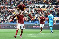 Esultanza dopo il gol di Miralem Pjanic con Manuel Iturbe Goal celebration <br /> Roma 04-04-2015 Stadio Olimpico, Football Calcio Serie A AS Roma - Napoli Foto Andrea Staccioli / Insidefoto