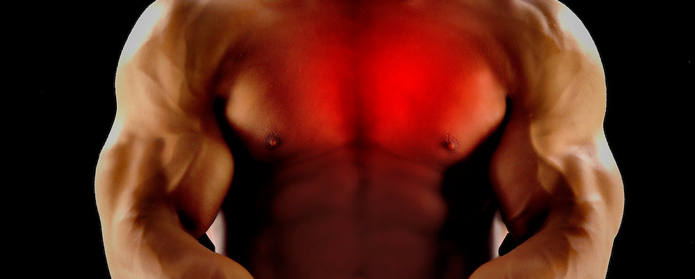 man with red chest