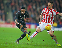 STOKE-ON-TRENT, ENGLAND - Tuesday, January 5, 2016: Liverpool's Nathaniel Clyne in action against Stoke City's Marko Arnautovic during the Football League Cup Semi-Final 1st Leg match at the Britannia Stadium. (Pic by David Rawcliffe/Propaganda)