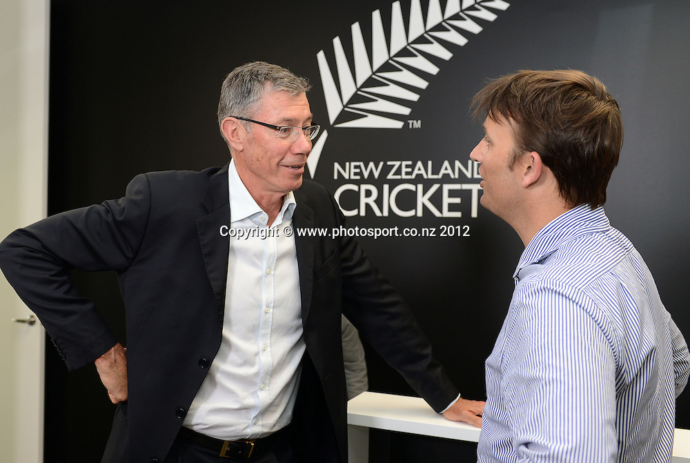NZC Director of Cricket, John Buchanan and Shane Bond during a press conference announcing Bond as NZC's new bowling coach to the Black Caps ahead of their tour to Sri Lanka. Auckland, Friday 19 October 2012. Photo: Andrew Cornaga/Photosport.co.nz