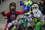 #95 (NOBLES Barry) USA and  #144 (DEAN Anthony) AUS at the 2014 UCI BMX Supercross World Cup in Manchester.