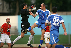 Goalkeeper of Rudar Boban Savic and Milan Osterc of Gorica at 3rd Round of PrvaLiga Telekom Slovenije between NK HIT Gorica vs NK Rudar Velenje, on August 1, 2008, in Nova Gorica, Slovenija. Rudar won the match 2:0. (Photo by Vid Ponikvar / Sportal Images)