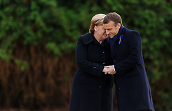 German Chancellor Angela Merkel (CDU) and French President Emmanuel Macron commemorate the end of the First World War 100 years ago in the clearing of Rethondes (the Glade of the Armistice) near the northern French town of Compiegne on November 10, 2018. The armistice was signed on 11 November 1918 in a converted dining car in the clearing. The memorial is located on this site. Photo by Sylvain Lefevre/ABACAPRESS.COM