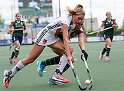 Surbiton's Emily Defroand challenges with Amsterdam's Kimberley Thompson  during the bronze medal match at the EHCC 2017 at Den Bosch HC, The Netherlands, 5th June 2017
