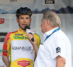 08.07.2017, Wels, AUT, Ö-Tour, Österreich Radrundfahrt 2017, Siegerehrung, im Bild v.l. Stefan Denifl (AUT, Team Aqua Blue Sport) im gelben Trikot, Toursprecher Harri Mayer // f.l. Stefan Denifl of Austria (Aqua Blue Sport) in the yellow jersey and Harri Maier the voice of the Tour of Austria on Podium during winner ceremony for 2017 Tour of Austria. Wels, Austria on 2017/07/08. EXPA Pictures © 2017, PhotoCredit: EXPA/ Reinhard Eisenbauer