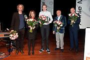 Uitreiking van de Annie  M.G. Schmidtprijs 2012 in het Amsterdamse Theater Bellevue.<br /> <br /> Op de foto:  Jan Beuving, Nico Brandsen en Angela Groothuizen winnaars Annie M.G. Schmidtprijs 2012 samen met Boris van der Ham