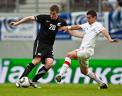 29.05.2010, Hypo Group Arena, Klagenfurt, AUT, FIFA Worldcup Vorbereitung, Neuseeland vs Serbien im Bild Chris Wood (West Bromwich Albion), Nationalmannschaft Neuseeland, Aleksandar Kolarov (Lazio Rom), Nationalmannschaft Serbien, EXPA Pictures © 2010, PhotoCredit: EXPA/ J. Feichter / SPORTIDA PHOTO AGENCY