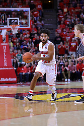11 February 2017:  Keyshawn Evans(3) during a College MVC (Missouri Valley conference) mens basketball game between the Bradley Braves and Illinois State Redbirds in  Redbird Arena, Normal IL