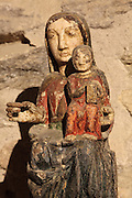 12th century Virgin with Child statue, absidal chapel of the Benedictine Abbey of Saint Michel de Cuxa, Codalet, Pyrenees Orientales, France.  Picture by Manuel Cohen