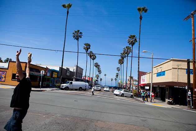 A view of Newport Avenue in Ocean Beach. Ocean Beach has a Walk Score of 79, making it ?Very Walkable,? but residents outside its commercial core would struggle to accomplish many tasks on foot.