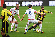 Wellington Phoenix's Matthew Ridenton involved in a dribble challenge with Adelaide United's Isaías during the Hyundai A-League 2017-18 game between Wellington Phoenix v Adelaide United, Westpac Stadium, Sunday 08th October 2017. Copyright Photo: Raghavan Venugopal / © www.Photosport.nz 2017