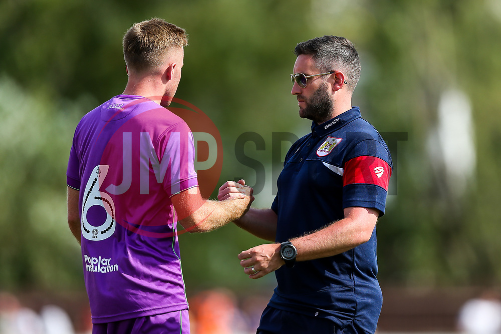 Bristol City Head Coach Lee Johnson congratulates goalscorer Joe Morrell - Rogan/JMP - 09/07/2017 - The Creek - Bristol, England - Bristol Manor Farm v Bristol City - Pre-season Friendly.