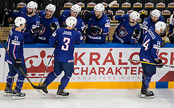Antoine Roussel of France, Jonathan Janil of France and Stephane da Costa of France celebrate after scoring third goal during the 2017 IIHF Men's World Championship group B Ice hockey match between National Teams of France and Belarus, on May 12, 2017 in AccorHotels Arena in Paris, France. Photo by Vid Ponikvar / Sportida