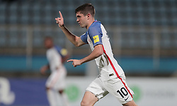 October 10, 2017 - Couva, Caroni County, Trinidad & Tobago - Couva, Trinidad & Tobago - Tuesday Oct. 10, 2017: Christian Pulisic scores a goal and celebrates during a 2018 FIFA World Cup Qualifier between the men's national teams of the United States (USA) and Trinidad & Tobago (TRI) at Ato Boldon Stadium. (Credit Image: © John Dorton/ISIPhotos via ZUMA Wire)