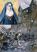 French heroine Julienne du Guesclin (1333-1405) Abbess of St Georges de Rennes, pushing  scaling ladder from walls of Pontorson castle, under attack by English during Hundred Years' War. From 'Le Petit Journal', Paris, 23 July 1894.