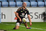 Wasps scrum half Dan Robson (9) celebrates scoring a try during the Gallagher Premiership Rugby match between Wasps and Bath Rugby at the Ricoh Arena, Coventry, England on 2 November 2019.