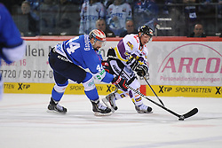 17.10.2014, Helios Arena, Schwenningen, GER, DEL, Schwenninger Wild Wings vs Krefeld Pinguine, 11. Runde, im Bild (l.) Ashton Rome (Schwenninger Wild Wings) (r.) Martin Schymainski (Krefeld Pinguine) // during Germans DEL Icehockey League 11th round match between Schwenninger Wild Wings and Krefeld Pinguine at the Helios Arena in Schwenningen, Germany on 2014/10/17. EXPA Pictures © 2014, PhotoCredit: EXPA/ Eibner-Pressefoto/ Laegler<br /> <br /> *****ATTENTION - OUT of GER*****