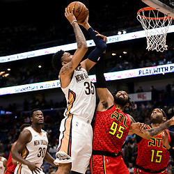 Mar 26, 2019; New Orleans, LA, USA; New Orleans Pelicans forward Christian Wood (35) shoots over Atlanta Hawks forward DeAndre' Bembry (95) during the second half at the Smoothie King Center. Mandatory Credit: Derick E. Hingle-USA TODAY Sports
