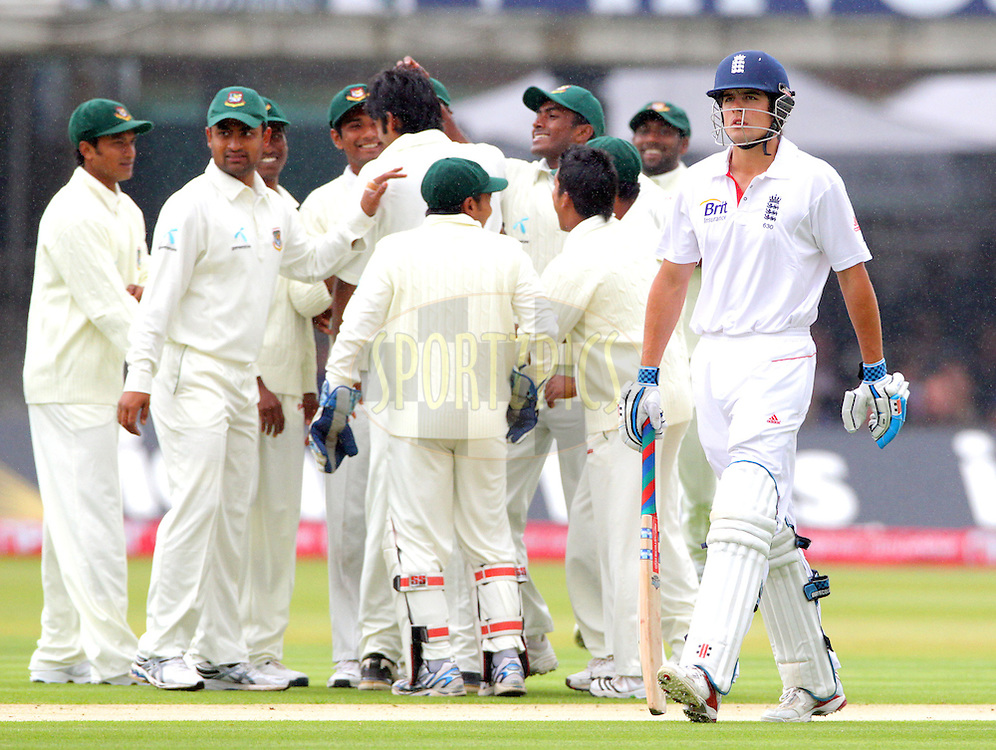 © SPORTZPICS / Seconds Left Images 2010 - Alastair Cook leaves the field as the visitors celebrate his wicket  - LBW  for 7 from Shahadat Hossain 's bowling  England v Bangladesh - 1st Test - Day 1 - Lord's Cricket Ground  St. John's Wood, London 27/06/2010 -  All rights reserved.