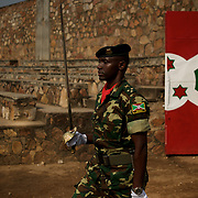 Burundi soldiers march at the entrance of the Prince Rwagasore Stadium in Bujumbura during the celebrations of the Country 53rd Independence Anniversary on July 1, 2015.