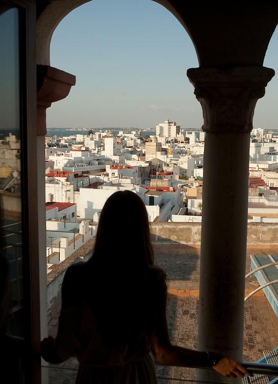 Beautiful view of La Viña traditional quarter from Torre Tavira in Cadiz, Andalucía, Spain.