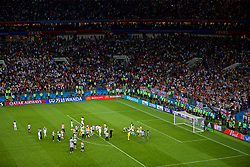 MOSCOW, RUSSIA - Wednesday, July 11, 2018: England supporters and players look dejected after the FIFA World Cup Russia 2018 Semi-Final match between Croatia and England at the Luzhniki Stadium. Croatia won 2-1 after extra-time. (Pic by David Rawcliffe/Propaganda)