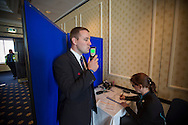 Andrew Hardy from Sheffield, representing First South Yorkshire, takes a breathalyser test before competing in the Bus Driver of the Year competition in Blackpool. The event, first staged in 1967, attracted 105 entrants from across the United Kingdom who completed theory and practical driving test to determine who would win the 2013 award.