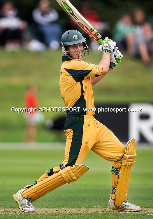 Australian batsman Mitchell Marsh during his innings. New Zealand v Australia, U19 Cricket World Cup Quarter Final, Mainpower Oval, Rangiora, Sunday 24 January 2010. Photo : Joseph Johnson/PHOTOSPORT