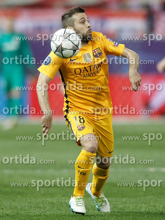 13.04.2016, Estadio Vicente Calderon, Madrid, ESP, UEFA CL, Atletico Madrid vs FC Barcelona, Viertelfinale, Rueckspiel, im Bild FC Barcelona's Jordi Alba // during the UEFA Champions League Quaterfinal, 2nd Leg match between Atletico Madrid and FC Barcelona at the Estadio Vicente Calderon in Madrid, Spain on 2016/04/13. EXPA Pictures &copy; 2016, PhotoCredit: EXPA/ Alterphotos/ Acero<br /> <br /> *****ATTENTION - OUT of ESP, SUI*****