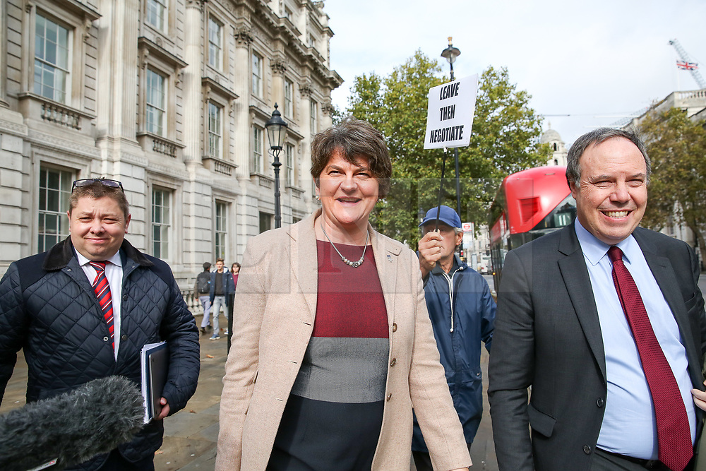© Licensed to London News Pictures. 16/10/2019. London, UK. © Licensed to London News Pictures. 16/10/2019. London, UK. Deputy leader of the Democratic Unionist Party (DUP) NIGEL DODDS (R) and leader of the Democratic Unionist Party (DUP) ARLENE FOSTER leaves Cabinet Office after a meeting with the Prime Minister BORIS JOHNSON. Photo credit: Dinendra Haria/LNPPhoto credit: Dinendra Haria/LNP