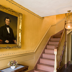 A portrait of Franklin Pierce in the front hallway at the Frankiln Pierce Homestead in Hillsborough, New Hampshire.