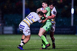Francois Venter of Worcester Warriors and Ryan Mills of Worcester Warriors tackles of Pau - Mandatory by-line: Ryan Hiscott/JMP - 15/12/2018 - RUGBY - Sixways Stadium - Worcester, England - Worcester Warriors v Pau - European Rugby Challenge Cup
