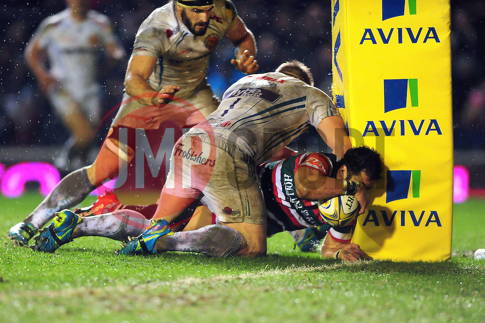 Maxime Mermoz of Leicester Tigers scores a second half try - Mandatory byline: Patrick Khachfe/JMP - 07966 386802 - 03/03/2017 - RUGBY UNION - Welford Road - Leicester, England - Leicester Tigers v Exeter Chiefs - Aviva Premiership.