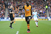 Hull City midfielder Mohammed Diame (17)  during the Sky Bet Championship match between Huddersfield Town and Hull City at the John Smiths Stadium, Huddersfield, England on 9 April 2016. Photo by Simon Davies.