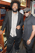 """New York, NY- December 5: The ROOTS's ?uestlove & Black Thought backstage at """" ?uestlove  eats…in Concert: A Night of Food and Music """" produced by Jill Newman Productions held at the Blue Note on December 5, 2011 in New York City. Photo Credit: Terrence Jennings"""