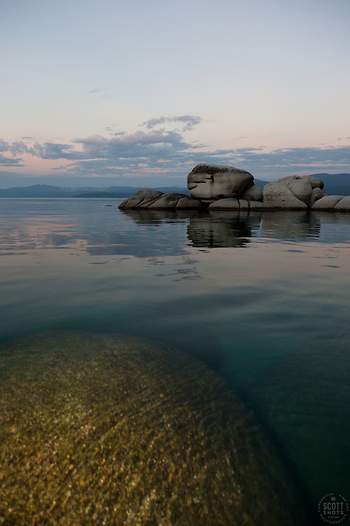 """Tahoe Boulders at Sunrise 3"" - These boulders were photographed at sunrise near Speedboat Beach, Lake Tahoe"