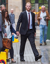 © Licensed to London News Pictures. 08/08/2018. Bristol, UK. England cricketer BEN STOKES and his wife CLARE RATCLIFFE arrive at  Bristol Crown court today for the third day of his trial on charges of affray that relate to a fight outside a Bristol nightclub on September 25 2017. Stokes and two other men, Ryan Ali, 28, and Ryan Hale, 27, all deny the charge. Stokes, Ali and Hale are jointly charged with affray in the Clifton Triangle area of Bristol on September 25 last year, several hours after England had played a one-day international against the West Indies in the city. A 27-year-old man allegedly suffered a fractured eye socket in the incident. Photo credit: Simon Chapman/LNP