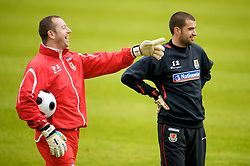 CARDIFF, WALES - Monday, October 13, 2008: Wales' goalkeeper Boaz Myhill and coach Paul Jones during training at the Vale of Glamorgan Hotel ahead of the 2010 FIFA World Cup South Africa Qualifying Group 4 match against Germany. (Photo by David Rawcliffe/Propaganda)