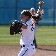 Delaware Pitcher Carolyn Szymanski (25) throws a pitch during a Colonial Athletic Association regular season softball game between Delaware and Hofstra Saturday, April 16, 2016, at Delaware softball stadium in Newark, Delaware.