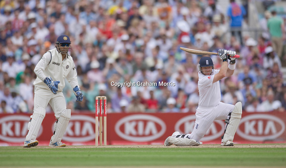 Ian Bell bats during his maiden double century during the fourth and final npower Test Match between England and India at the Oval, London.  Photo: Graham Morris