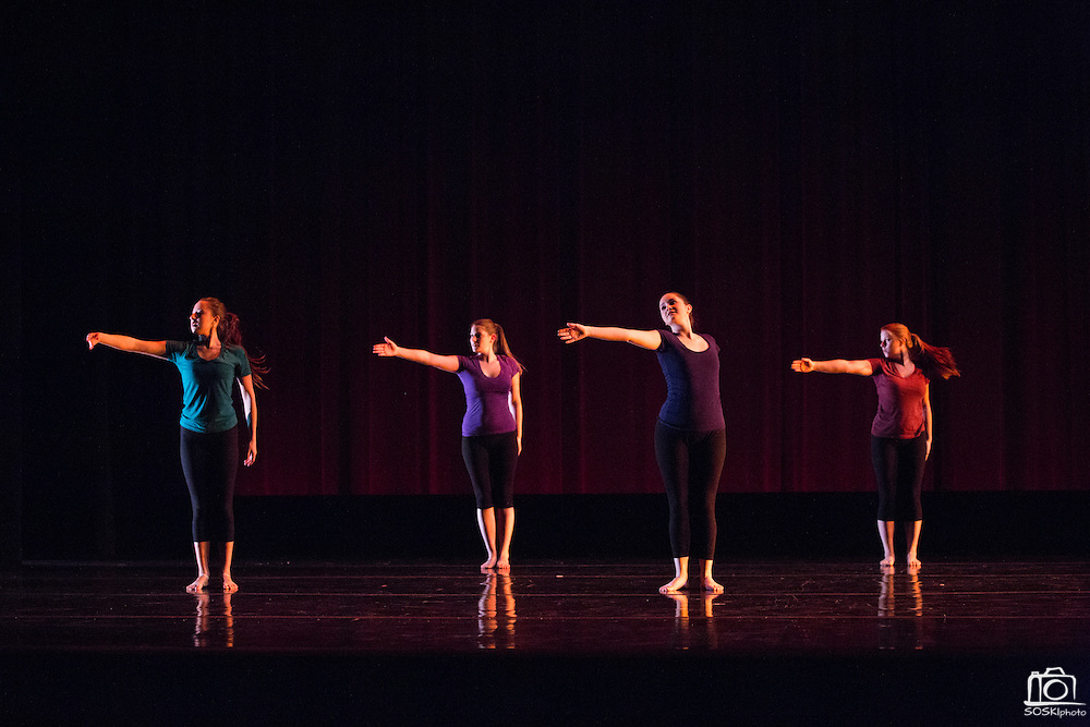 Santa Clara University Department of Theatre & Dance students perform during the dress rehearsal of the Choreographers' Gallery at Santa Clara University's Louis B. Mayer Theatre in Santa Clara, California, on December 4, 2013. (Stan Olszewski/SOSKIphoto)