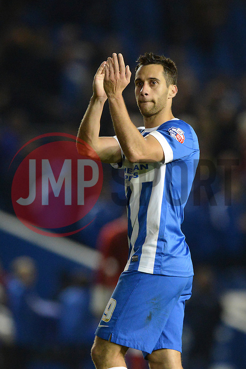 Sam Baldock of Brighton & Hove Albion applauds the Bristol City fans after the game - Mandatory byline: Dougie Allward/JMP - 07966 386802 - 20/10/2015 - FOOTBALL - American Express Community Stadium - Brighton, England - Brighton v Bristol City - Sky Bet Championship