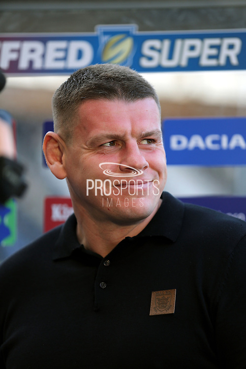 Hull FC Head Coach Lee Radford pre match intenrview prior to  the Betfred Super League match between Hull FC and Leeds Rhinos at Kingston Communications Stadium, Hull, United Kingdom on 19 April 2018. Picture by Mick Atkins.