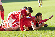 GOAL Joe Lolley is mobbed by his teammates after scoring Forest's 2nd during the EFL Sky Bet Championship match between Nottingham Forest and Luton Town at the City Ground, Nottingham, England on 19 January 2020.